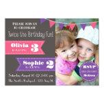 "Double Birthday Party Invite (Girl/Girl) 5"" X 7"" Invitation Card"