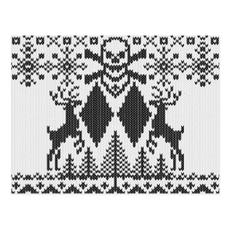Double Black Diamond Crossbones Ugly Sweater Style Postcard
