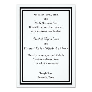 Double Black Trim -3x5 Wedding Invitation