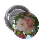 Double Blossoming Cherry Tree I Spring Floral Pinback Button