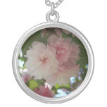 Double Blossoming Cherry Tree I Spring Floral Silver Plated Necklace