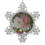 Double Blossoming Cherry Tree I Spring Floral Snowflake Pewter Christmas Ornament