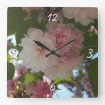 Double Blossoming Cherry Tree I Spring Floral Square Wall Clock