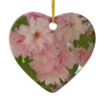 Double Blossoming Cherry Tree II Pink Spring Ceramic Ornament