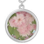 Double Blossoming Cherry Tree II Pink Spring Silver Plated Necklace
