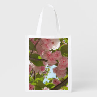 Double Blossoming Cherry Tree III Spring Floral Reusable Grocery Bag