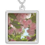 Double Blossoming Cherry Tree III Spring Floral Silver Plated Necklace