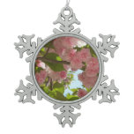 Double Blossoming Cherry Tree III Spring Floral Snowflake Pewter Christmas Ornament