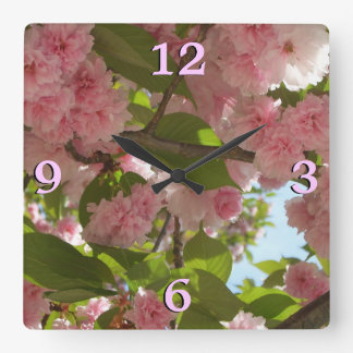 Double Blossoming Cherry Tree III Spring Floral Square Wall Clock