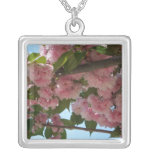 Double Blossoming Cherry Trees IV Pink Spring Silver Plated Necklace