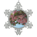 Double Blossoming Cherry Trees IV Pink Spring Snowflake Pewter Christmas Ornament