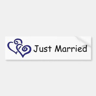 Double Blue Hearts Just Married Bumper Sticker