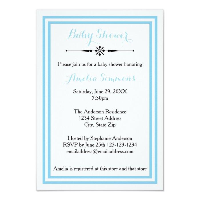 double blue trim 3x5 baby shower invitation zazzle. Black Bedroom Furniture Sets. Home Design Ideas