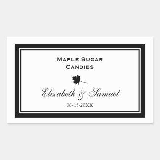 Double border maple leaf wedding reception candy rectangular sticker