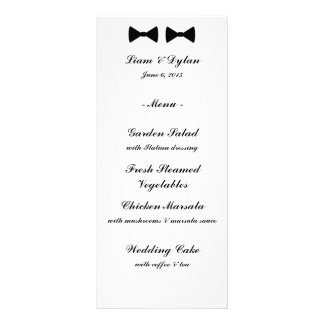 """Double Bow Ties"" Wedding Menu Cards"