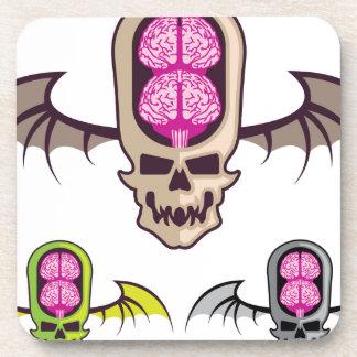 Double brain skull beverage coaster