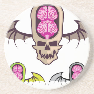 Double brain skull drink coaster