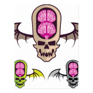 Double brain skull postcard