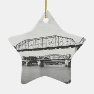 Double Bridge Black and White Photography Ceramic Ornament