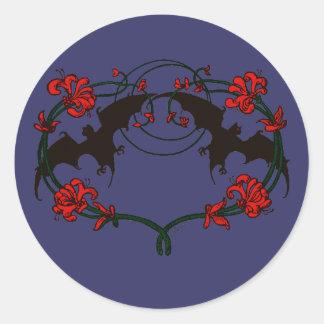 Double Brown Bat Vignette Classic Round Sticker