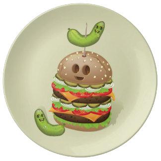 Double Burger Evil Face Dinner Plate