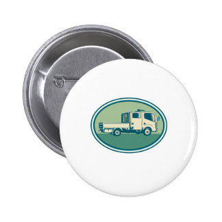 Double Cab Pick-up Truck Oval Woodcut Pinback Button