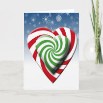 Double Candy Cane Hearts Christmas Color Snowflake Holiday Card