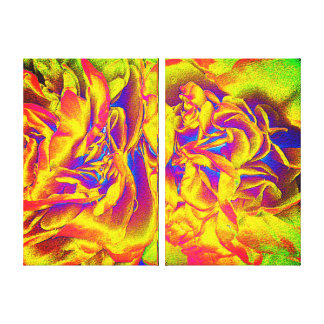 Double Canvas Print Set - Fiery Petals