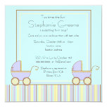 Double Carriage Twin Boy Baby Shower Invitation