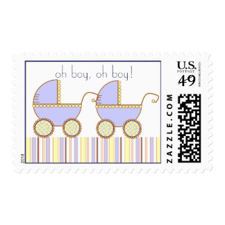Double Carriage Twin Boys Stamp