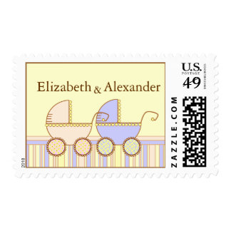 Double Carriage Twin Girl and Boy Name Postage