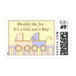 Double Carriage Twin Girl and Boy Postage