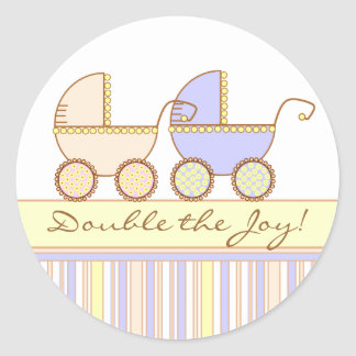 Double Carriage Twin Girl and Boy Sticker