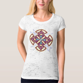 Double Celt Cross Ladies Burnout T-Shirt