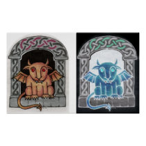 Double Celtic Gargoyle print