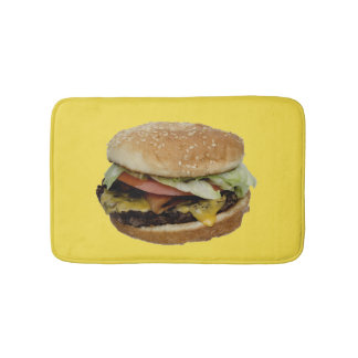 Double Cheese Burger with Tomato and Lettuce Bathroom Mat