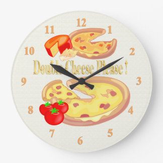 Double Cheese Please Large Clock