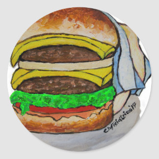 Double Cheeseburger Classic Round Sticker
