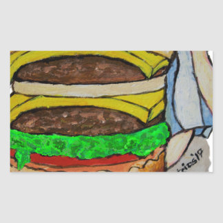Double Cheeseburger Rectangular Sticker