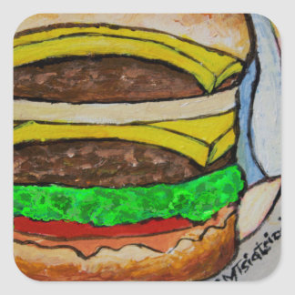 Double Cheeseburger Square Sticker