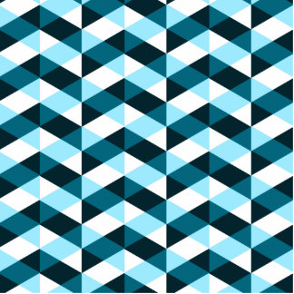 Double chevron pattern design in blues, overlapped cutout