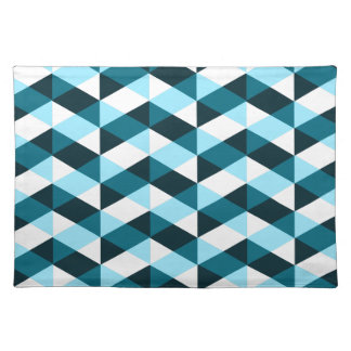 Double chevron pattern design in blues, overlapped placemat
