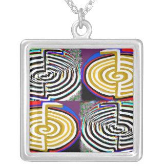 Double CHO KU RAY - Reiki Basic Symbol Square Pendant Necklace