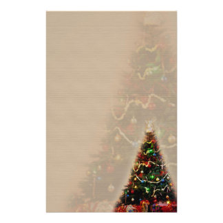 DOUBLE CHRISTMAS TREE DESIGN PERSONALIZED STATIONERY