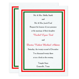 Double Christmas Trim - 3x5 Wedding Invitation