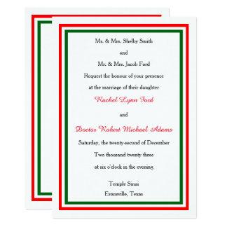 Double Christmas Trim -5x7 Wedding Invitation