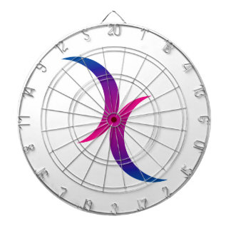 Double Crescent Moon Bisexual Pride Symbol Dartboard With Darts