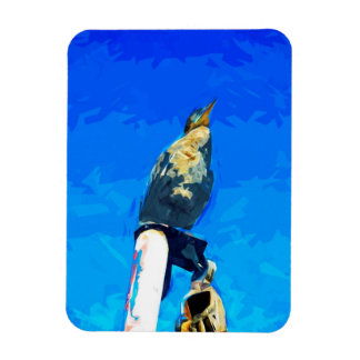 Double Crested Cormorant on Mast Abstract Rectangular Photo Magnet