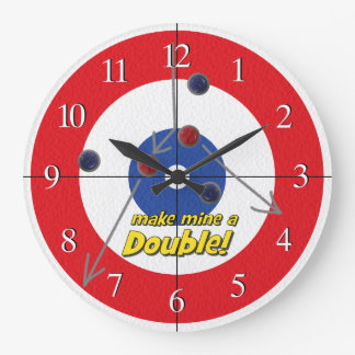 """""""Double"""" Curling Bar Clock - (Red)"""