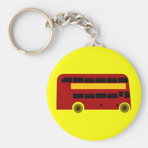 Double Deck Bus Basic Round Button Keychain